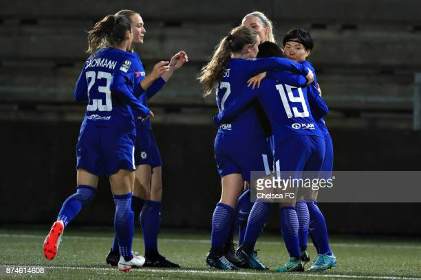 Chelsea FC players celebrate their 01 goal of Ji Soyun during the UEFA Women's Champions League between Rosengard and Chelsea Ladies at Malmo...