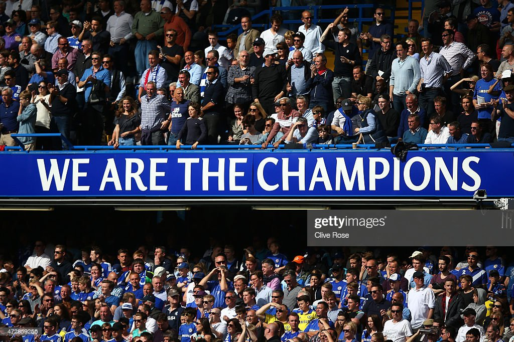 Chelsea FC proudly display their status during the Barclays Premier League match between Chelsea and Liverpool at Stamford Bridge on May 10, 2015 in London, England.