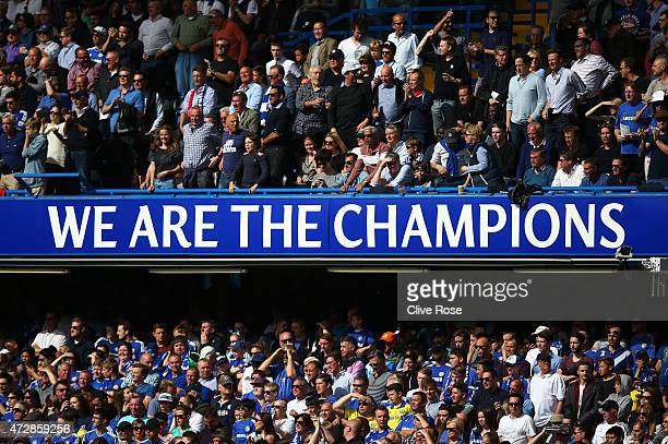 Chelsea FC proudly display their status during the Barclays Premier League match between Chelsea and Liverpool at Stamford Bridge on May 10 2015 in...