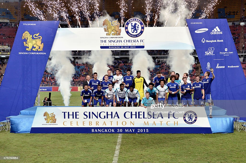 Chelsea FC team celebrates during the international friendly match between Thailand All-Stars and Chelsea FC at Rajamangala Stadium on May 30, 2015 in Bangkok, Thailand.