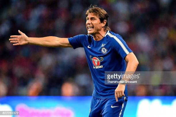 Chelsea FC team manager Antonio Conte actions during the International Champions Cup match between Chelsea FC and FC Bayern Munich at National...