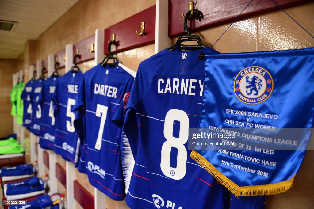 buy online c6a3a 89b4b Chelsea FC Women changing room ahead of the UEFA Women's ...
