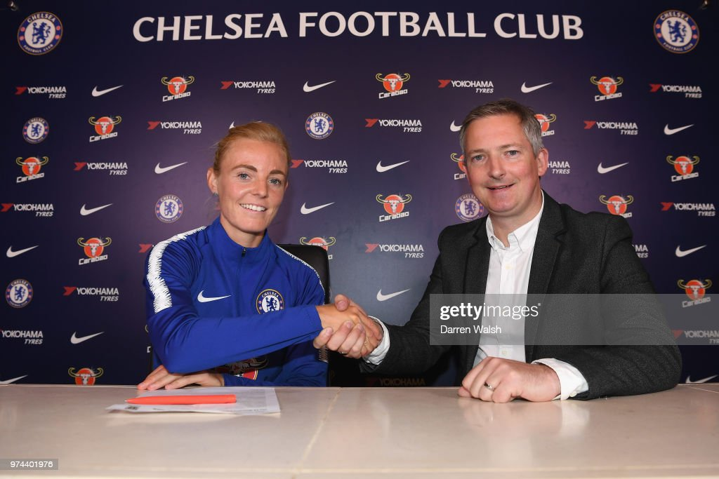 Chelsea FC Women unveil new signing Sophie Ingle alongside General Manager of Chelsea FC Women Paul Green at Chelsea Training Ground on June 14, 2018 in Cobham, England.