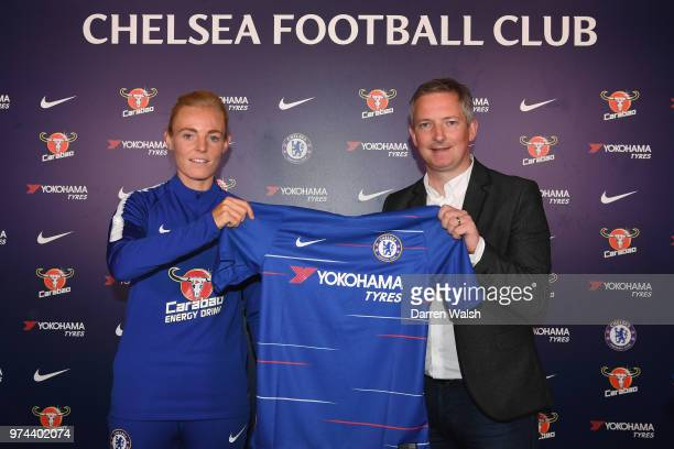 Chelsea FC Women unveil new signing Sophie Ingle alongside General Manager of Chelsea FC Women Paul Green at Chelsea Training Ground on June 14 2018...