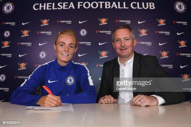 Chelsea FC Women unveil new signing Sophie Ingle alonside General Manager of Chelsea FC Women Paul Green at Chelsea Training Ground on June 14 2018...