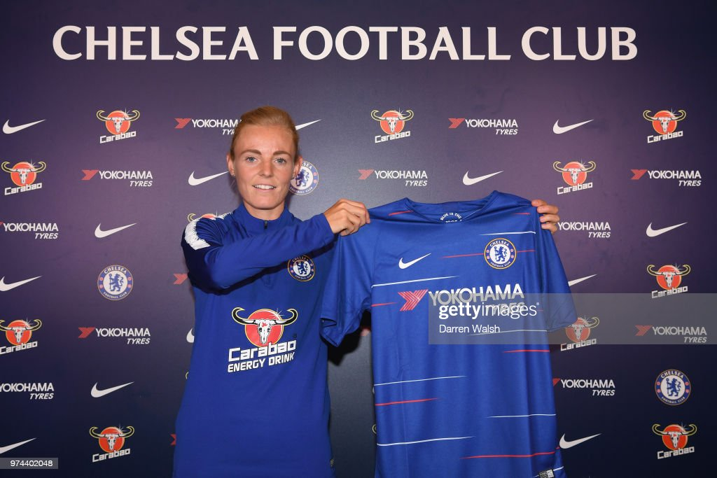 Chelsea FC Women unveil new signing Sophie Ingle at Chelsea Training Ground on June 14, 2018 in Cobham, England.