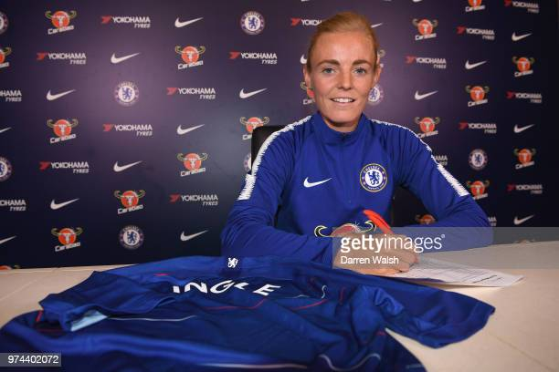 Chelsea FC Women unveil new signing Sophie Ingle at Chelsea Training Ground on June 14 2018 in Cobham England