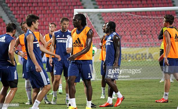 Chelsea FC's Romelu Lukaku during a training session at the Rajamangala Stadium English Premier League football team Chelsea who have a friendly...
