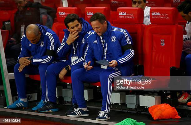 Chelsea first team assistant coaches Silvino Louro Rui Faria and Steve Holland are seen on the bench prior to the Barclays Premier League match...