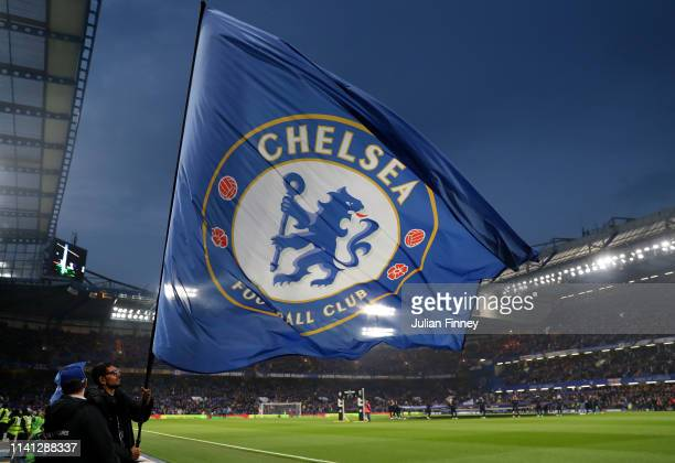Chelsea flag is waved prior to the Premier League match between Chelsea FC and West Ham United at Stamford Bridge on April 08 2019 in London United...