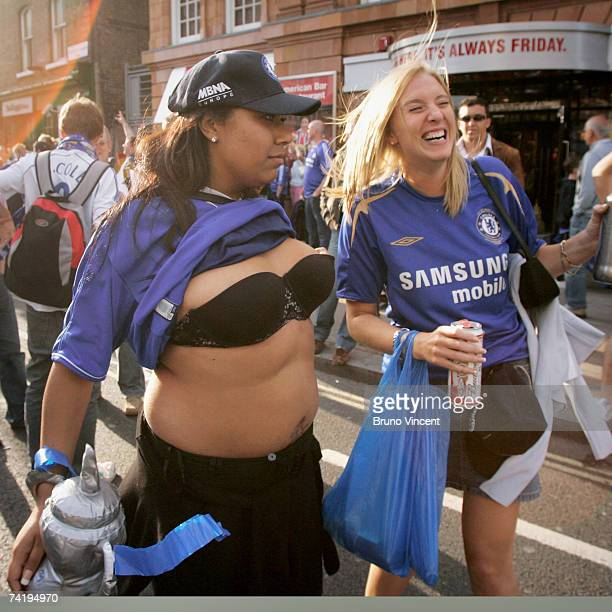 Chelsea Football Club fans celebrate in the street on May 19 2007 in London Didier Drogba secured the south London club's FA cup win with the only...