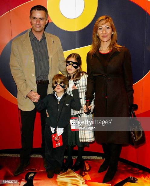 Chelsea football club manager Jose Mourinho and his family arrive at the UK Premiere of the new Disney/Pixar animation 'The Incredibles' at the...