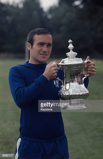 Chelsea Football Club manager Ron Harris holding the FA Cup