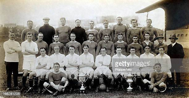 Chelsea Football Club photographed at Stamford Bridge in London prior to the 19131914 season Back row Foord Whitley Logan Molyneux Bridgeman...