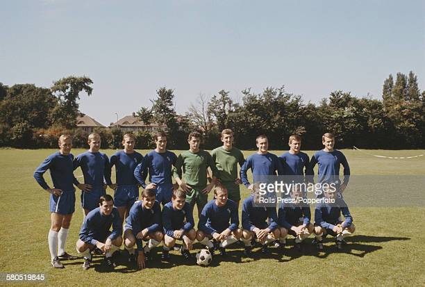 Chelsea Football Club squad players posed together at the start of the 19661967 season at Chelsea's training ground in August 1966 Back row from left...