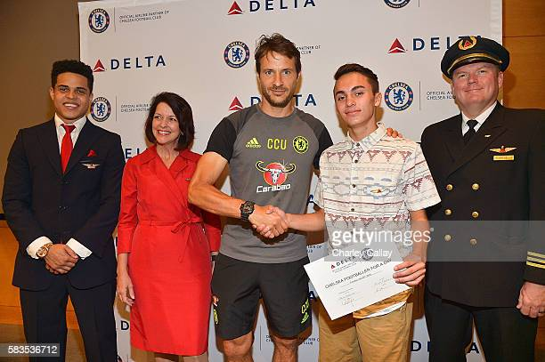 Chelsea Football Club's Carlo Cudicini and Children's Hospital Los Angeles patient Jacob Torres with Delta Air Lines brand ambassadors join Delta Air...
