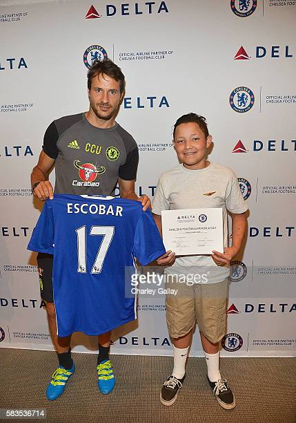 Chelsea Football Club's Carlo Cudicini and Children's Hospital Los Angeles patient Christopher Escobar join Delta Air Lines and Chelsea Football Club...