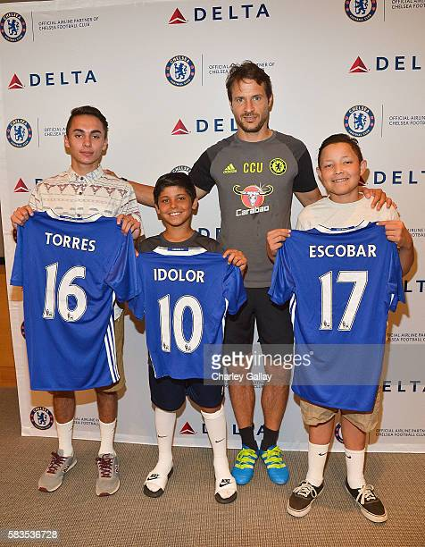 Chelsea Football Club's Carlo Cudicini and Children's Hospital Los Angeles patients Jacob Torres Alex Idolor and Christopher Escobar join Delta Air...