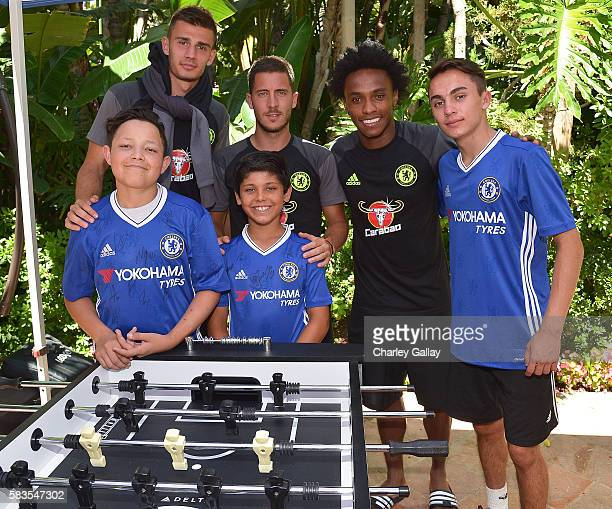 Chelsea Football Club's Matt Miazga Eden Hazard and Willian and Children's Hospital Los Angeles patients Jacob Torres Alex Idolor and Christopher...