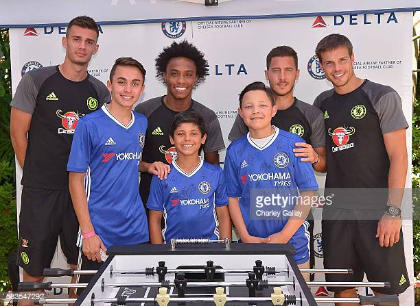 Chelsea Football Club's Matt Miazga Willian Eden Hazard and Cesar Azpilicueta and Children's Hospital Los Angeles patients Jacob Torres Alex Idolor...