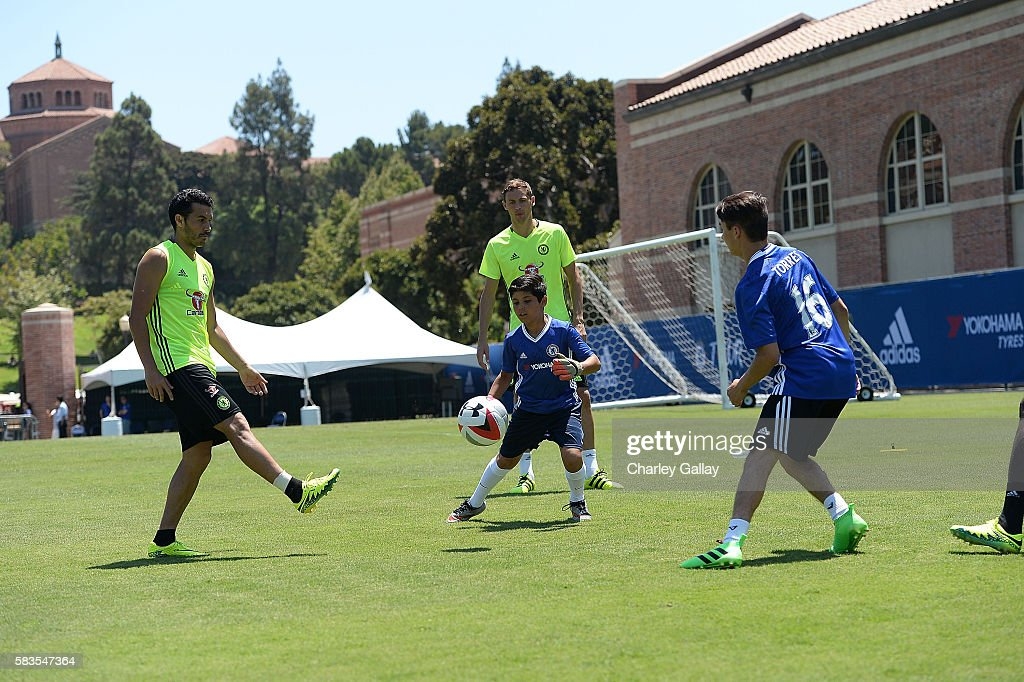 Delta Air Lines And Chelsea Football Club Team Up With Children's Hospital Los Angeles For 'Footballer For A Day' Experience For Three Deserving Patients : News Photo