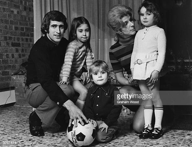 Chelsea football club's Peter Bonetti with his wife and children