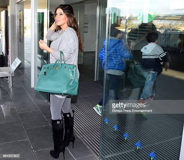 Chelsea football player Cesc Fabregas's girlfriend Daniella Semaan is seen leaving Barcelona on February 23 2015 in Barcelona Spain