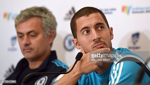 Chelsea football player Eden Hazard and coach José Mourinho listen to questions during a press conference in Sydney on May 31 2015 The English...