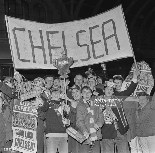 Chelsea football supporters at Paddington Station in London, en route to Birmingham for the FA Cup semi-final against Liverpool at Villa Park, UK,...