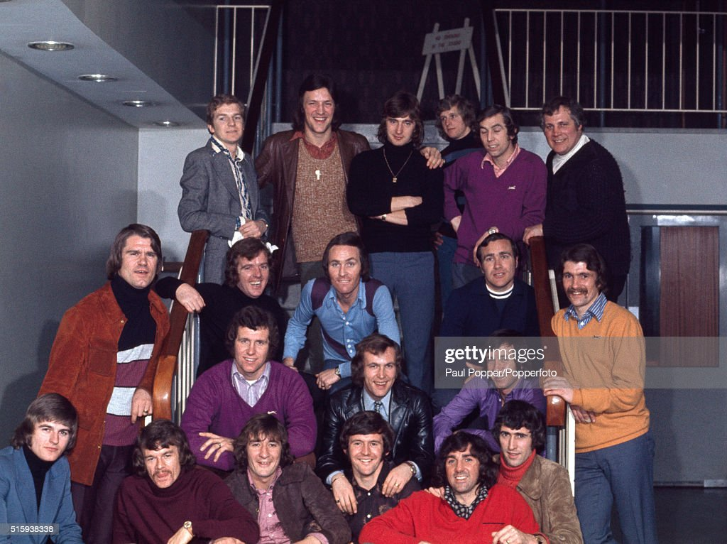 Chelsea football team preparing to sing their FA Cup Final song - Blue Is The Colour - at a recording studio in London, circa May 1970. Players featured include: Tommy Baldwin, David Webb, John Dempsey, Ron Harris, Eddie McCreadie, Charlie Cooke, Peter Osgood, John Hllins, Peter Bonetti and Marvin Hinton.