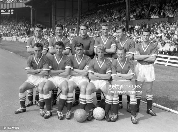 Chelsea football team prior to the match against Preston North End at Stamford Bridge in London 22nd August 1959 Back row Sylvan Anderton Dick...