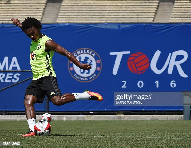 Chelsea footballer Willian of Brazil trains before their International Champions Cup game against Liverpool, at the UCLA Campus in Westwood,...