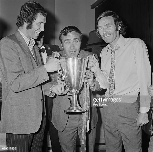 Chelsea footballers attend a reception at the Old Town Hall in Chelsea after winning the UEFA Cup Winners' Cup London UK 22nd May 1971 Left to right...