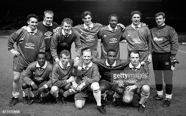 Chelsea former players line up for a testimonial game Back Row LR Pat Nevin Kerry Dixon Dave Beasant Colin Pates Paul Canoville Colin Lee Eddie...