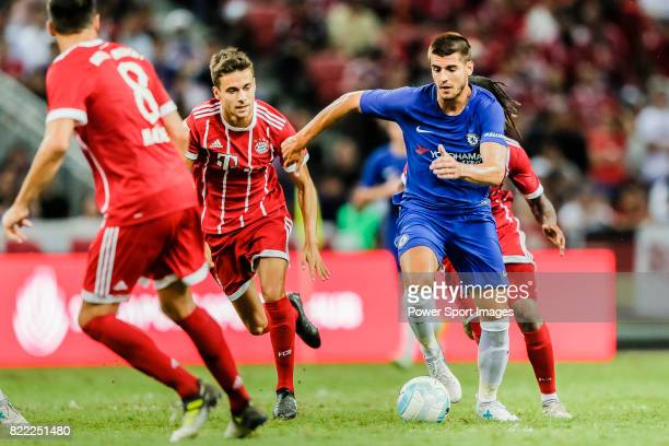 Chelsea Forward Alvaro Morata in action during the International Champions Cup match between Chelsea FC and FC Bayern Munich at National Stadium on...