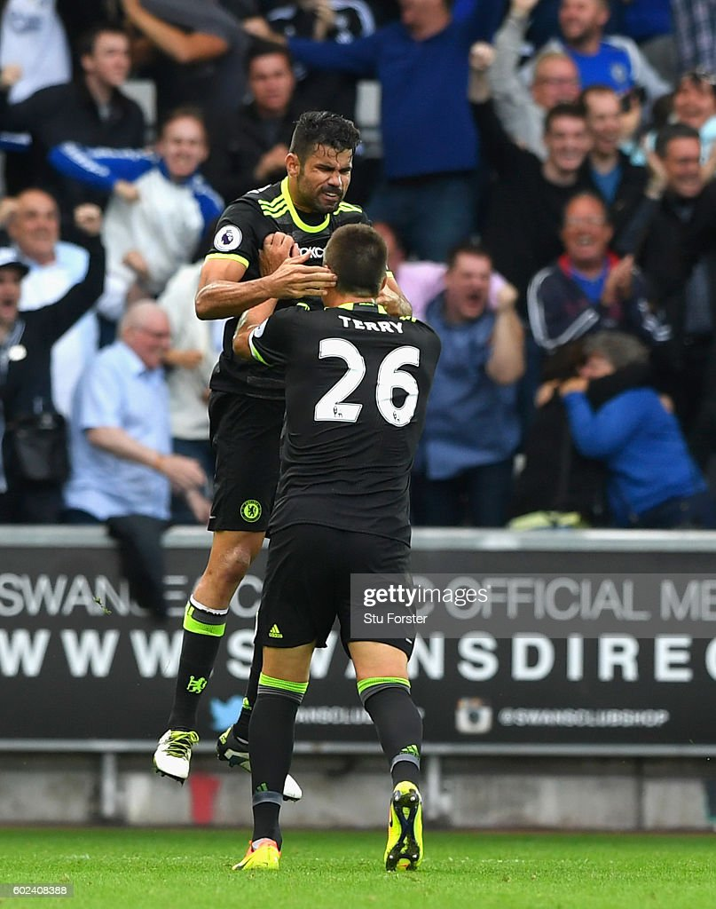 Chelsea forward Diego Costa (l) ncelebrates his second goal with John Terry during the Premier League match between Swansea City and Chelsea at Liberty Stadium on September 11, 2016 in Swansea, Wales.
