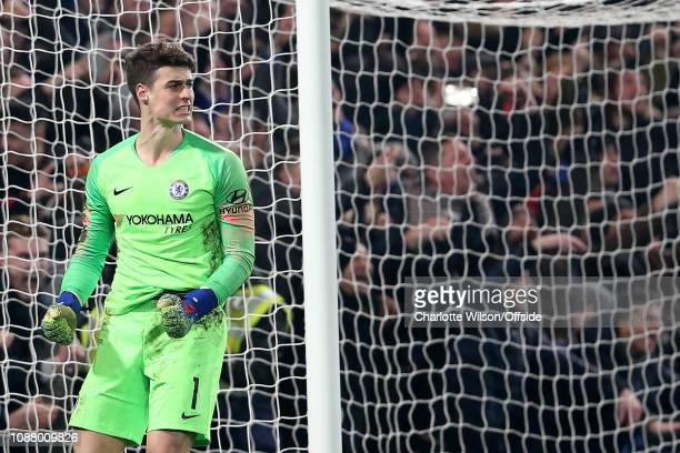 Chelsea gaokeeper Kepa Arrizabalaga celebrates as Tottenham misses a penalty during the Carabao Cup SemiFinal Second Leg match between Chelsea and...