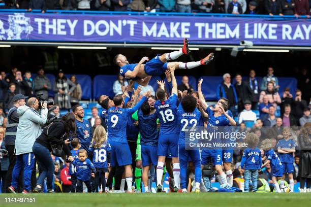 Chelsea give Gary Cahill of Chelsea a celebratory send off by throwing him into the air ahead of his retirement from football during the Premier...