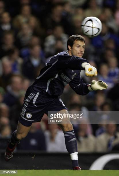 Chelsea goalkeeper Carlo Cudicini in action during the fourth round Carling Cup match between Chelsea and Aston Villa at Stamford Bridge on November...