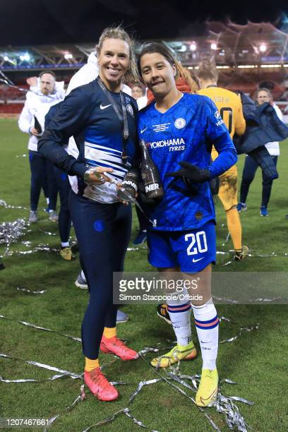 Chelsea goalkeeper Carly Telford and Sam Kerr of Chelsea celebrate victory after the FA Women's Continental League Cup Final between Chelsea FC Women...