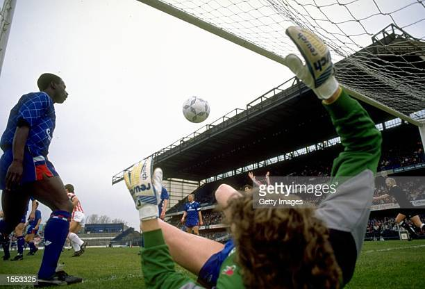 Chelsea goalkeeper Dave Beasant in action during the Barclays League Division One match against Stoke City played at Stamford Bridge in London...