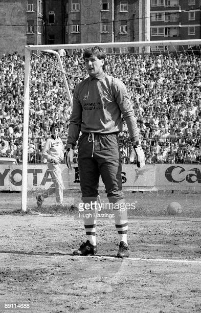 Chelsea goalkeeper Eddie Niedzwiecki during the English Division Two match between Chelsea and Leeds United held on April 28 1984 at Stamford Bridge...
