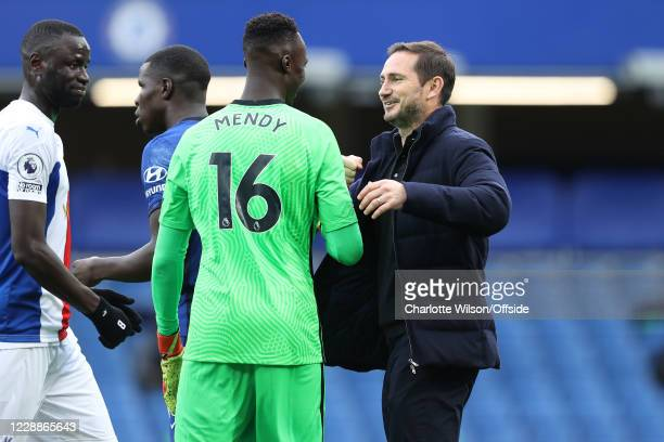 Chelsea goalkeeper Edouard Mendy and manager Frank Lampard during the Premier League match between Chelsea and Crystal Palace at Stamford Bridge on...