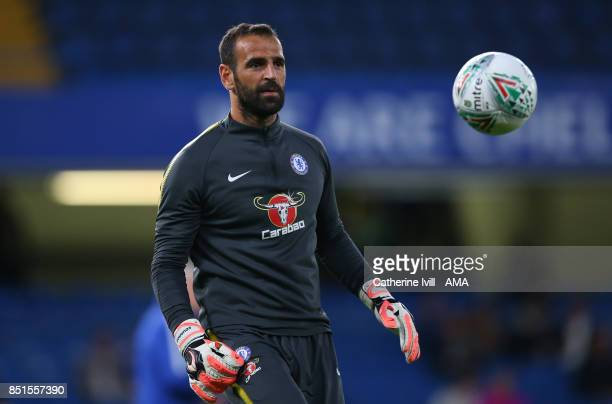 Chelsea goalkeeper Eduardo during the Carabao Cup Third Round match between Chelsea and Nottingham Forest at Stamford Bridge on September 20 2017 in...