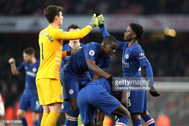 Chelsea goalkeeper Kepa Arrizabalaga and Tariq Lamptey hifive over Kurt Zouma and Antonio Rudiger after their late 21 win during the Premier League...