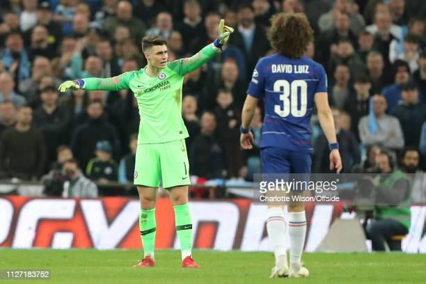 Chelsea goalkeeper Kepa Arrizabalaga argues with manager Maurizio Sarri as he tries to sub him off during the Carabao Cup Final between Chelsea and...
