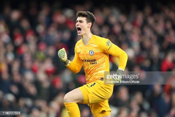 Chelsea goalkeeper Kepa Arrizabalaga celebrates their winning goal during the Premier League match between Arsenal FC and Chelsea FC at Emirates...