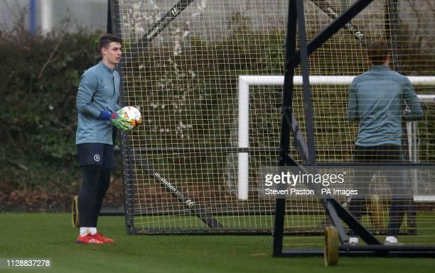 Chelsea goalkeeper Kepa Arrizabalaga during the training session at Cobham Training Ground London