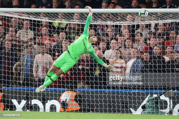 Chelsea goalkeeper Kepa Arrizabalaga fails to get a hand on a late equaliser from Daniel Sturridge of Liverpool during the Premier League match...