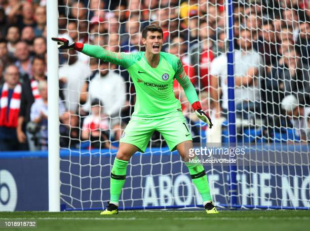 Chelsea goalkeeper Kepa Arrizabalaga gestures during the Premier League match between Chelsea FC and Arsenal FC at Stamford Bridge on August 18 2018...